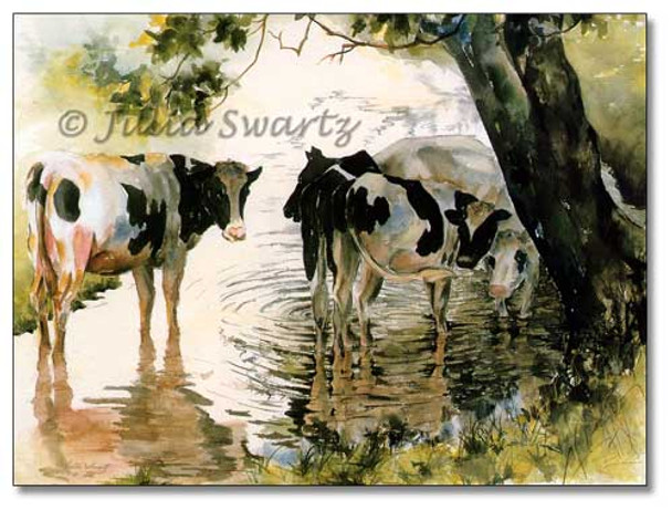 A watercolor painting of Holstein cows standing in the water under a tree by Julia Swartz.