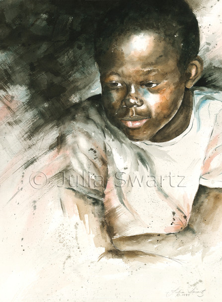 This watercolor painting is one of Julia's first paintings she's ever painted, a portrait of a young black boy.