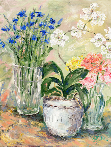 Bachelor Buttons, Roses and Phalaenopsis in glass vases and crocks painted with oil on canvas.