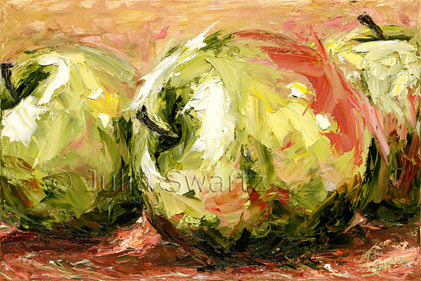 A close up still life oil painting of three apples painted with a palette knife and lots of texture by Julia Swartz.