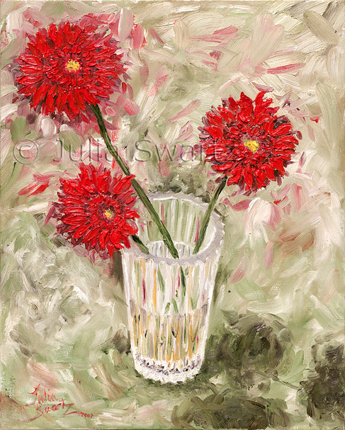 The startling visible strokes of crimson color, applied with palette knife, dramatically depict these beautiful Gerber daisies, a favorite of Julia's.