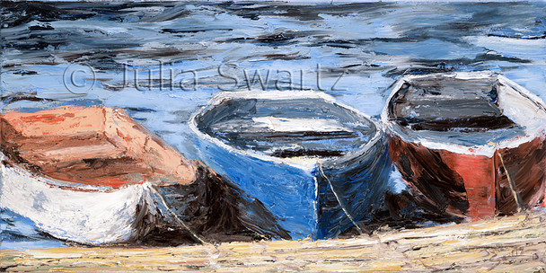 An oil painting of three red, white, and blue, row boats by Julia Swartz.