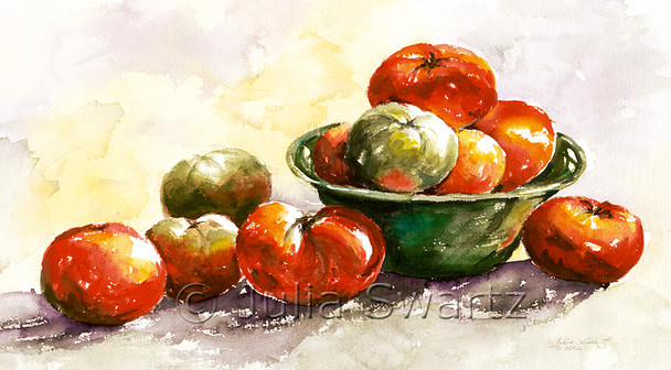 Red and Green Tomatoes in a green bowl watercolor painting by Julia Swartz.