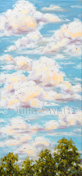 A landscape oil painting of white puffy clouds above the trees by Julia Swartz