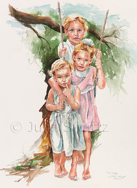 A watercolor of three young children on a swing by Julia Swartz.