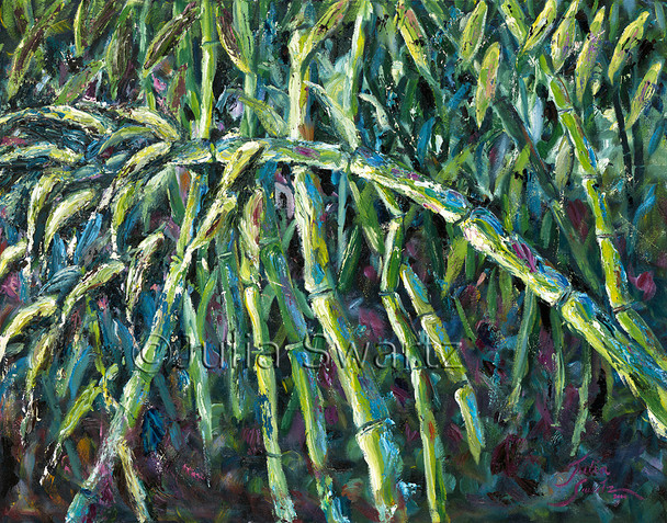 A oil painting of bamboo on canvas by artist Julia Swartz