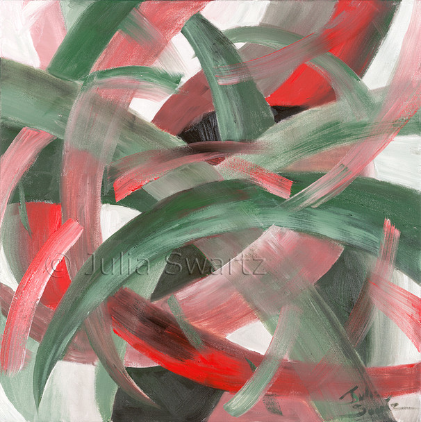 An abstract oil painting, Twisted, by Julia Swartz, Lancaster PA