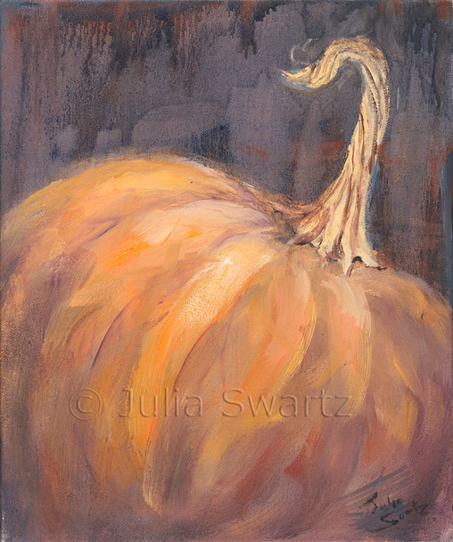 An oil painting of a pumpkin and stem by Julia Swartz, Lancaster PA