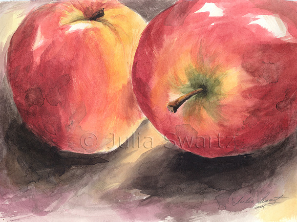 This still-life watercolor painting of Two Apples is one of several small watercolor paintings of fruit.