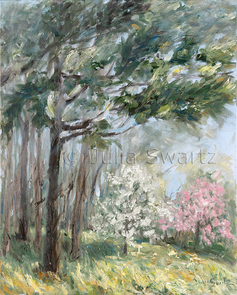 An impressionistic oil painting of a Pink Dogwood tree and a White Dogwood Tree by Julia Swartz, Lancaster PA