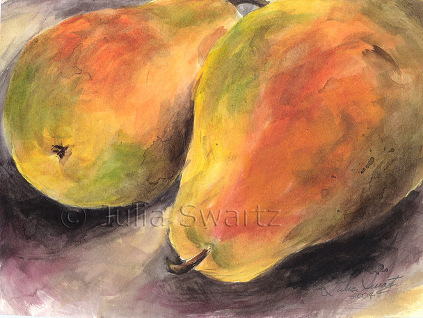 This still-life watercolor painting of Two Pears is one of several small watercolors of fruit by Julia Swartz
