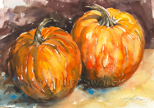 Though a simple subject, Julia has transformed these two pumpkins into a beautiful festive painting