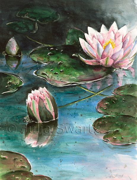 This watercolor painting is appropriate to the watery subject matter, a water Lily by Julia Swartz