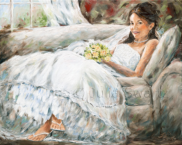 An oil portrait of Julia's daughter, Amber, this piece captures a view of innocence and beauty on her wedding day.