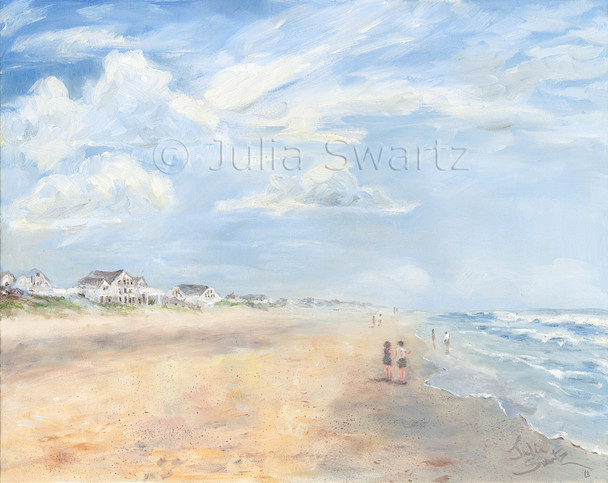 An impressionist oil painting of a walk on the beach at the Outer Banks by Julia Swartz, Lancaster PA.