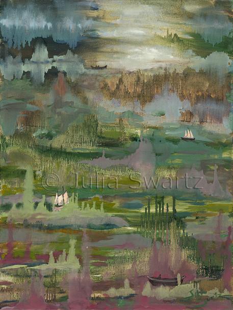 An Original Abstract Oil paintings, Wetlands, by Julia Swartz Lancaster PA artist.