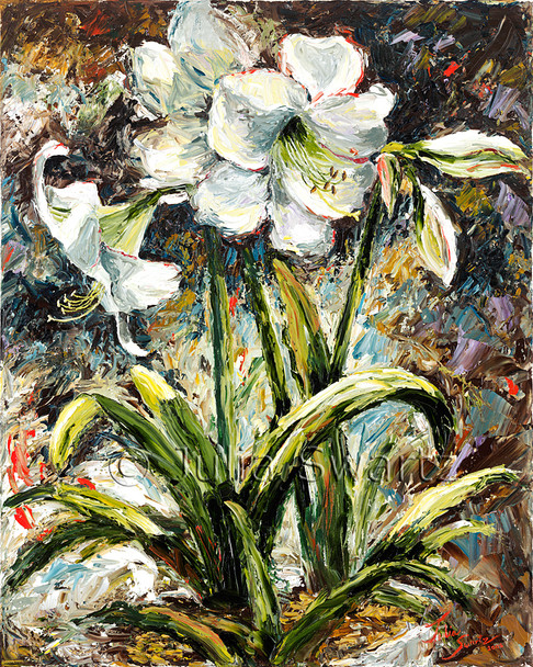 Julia has created a beautiful oil painting of a beautiful Amaryllis flower.