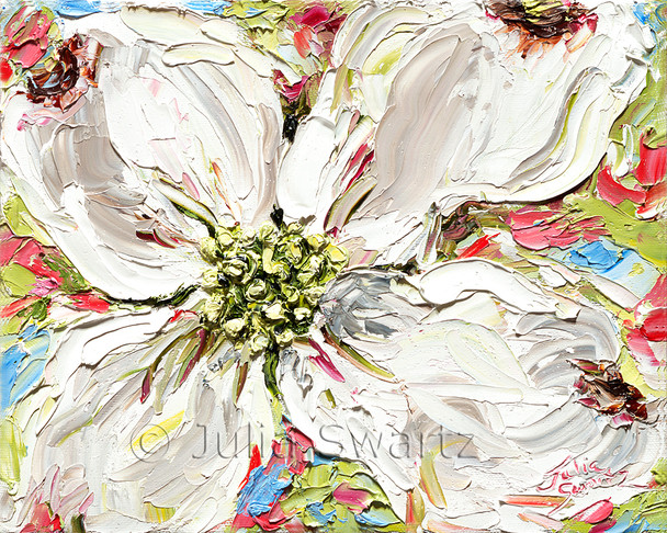 This piece is another study, but white flowers, of the first blooms that fill Julia's property in the spring.