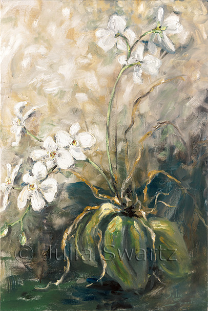 An impressionistic oil painting of a White Orchid by Julia Swartz, Lancaster PA.