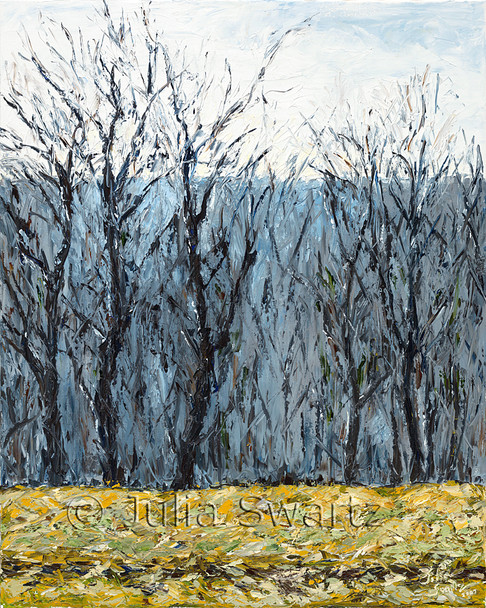 An oil painting of trees in the winter with no leaves with mountains in the background.