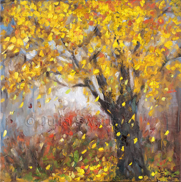 An impressionist oil painting of Yellow leaves falling from a tree in the fall by Julia Swartz, Lancaster PA
