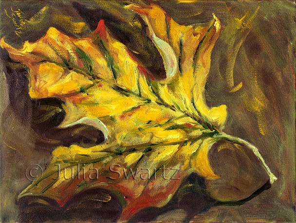 Another in the series of maple leaf pieces, this oil painting explores the warm yellow tones of fall by Julia Swartz.