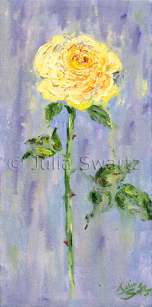An impressionist oil painting of a single yellow rose by Julia Swartz Lancaster PA