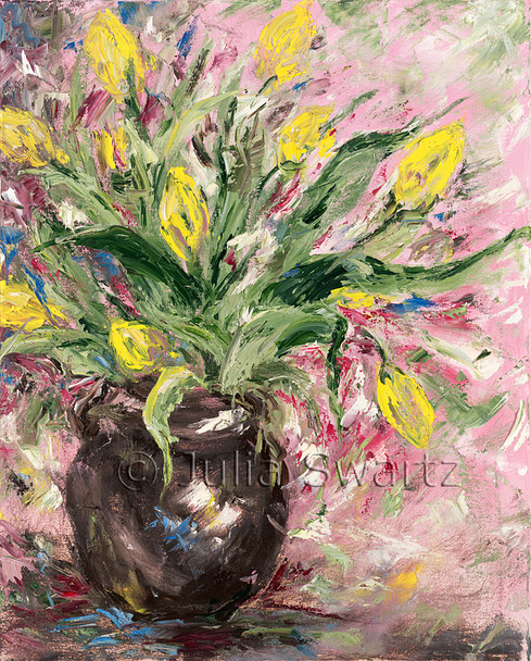 Impressionism, Original Oil paintings on canvas of Yellow Tulips by Julia Swartz Lancaster PA