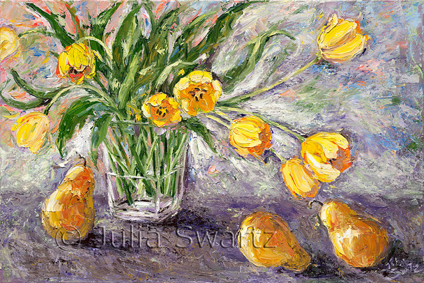 Yellow tulips in a glass vase and yellow pears on the table painted in oil on canvas by Julia Swartz.