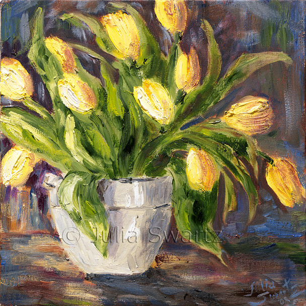 Yellow tulips oil painting in oil on canvas by Julia Swartz