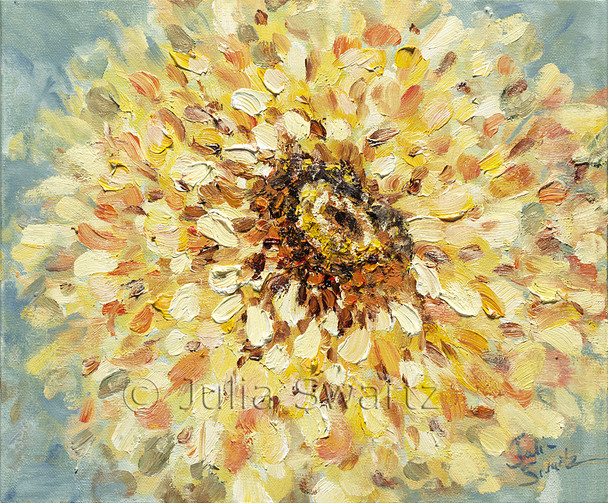 A large closeup impressionistic oil painting of a yellow Zinnia flower by Julia Swartz