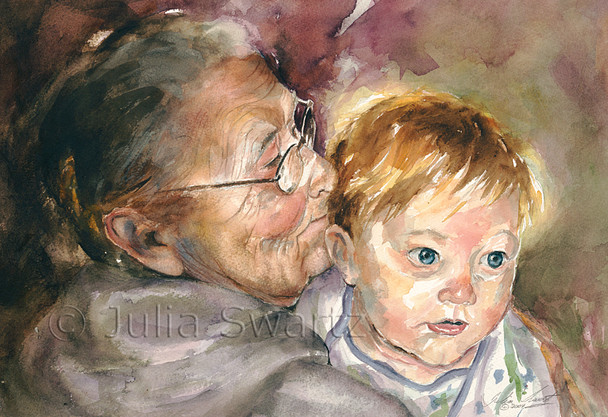 A figure watercolor painting of Great Grandma and Grandson by Julia Swartz.