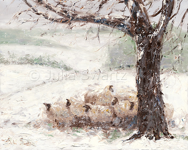 Oil painting on canvas of a flock of sheep huddled under a tree in a snowstorm by Julia Swartz.
