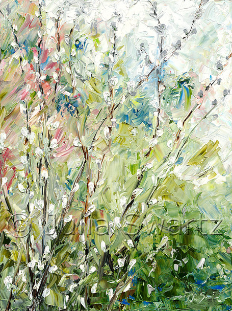 On impressionistic oil painting of Pussy-willows by Julia Swartz
