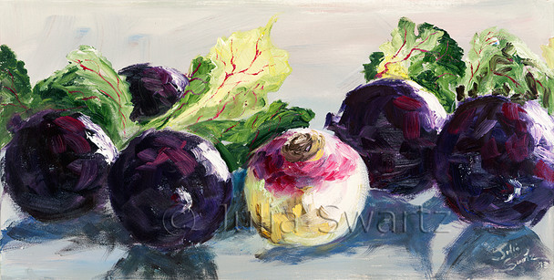 A close up impressionism oil painting of Red Beets and a turnip by Julia Swartz.