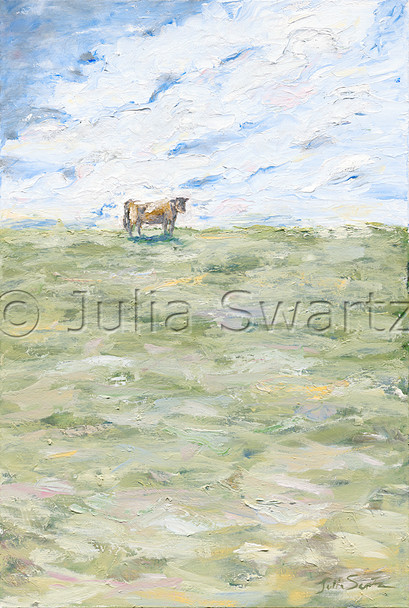 An original impressionistic oil painting of a cow standing in a large pasture by Julia Swartz.