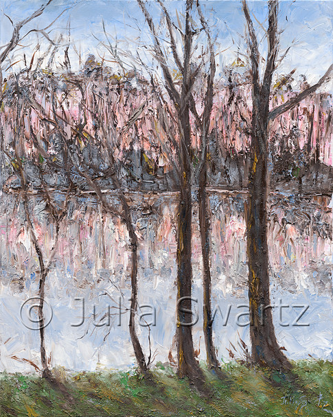 An impressionistic landscape oil painting on canvas of trees by a lake and reflections of the trees in the lake by Julia Swartz