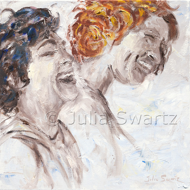 An impressionistic oil painting on canvas of two ladies laughing by Julia Swartz.