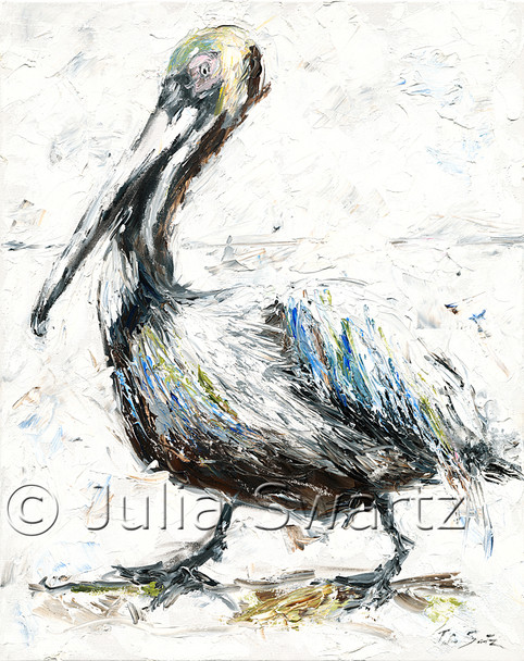 An impressionistic oil painting of a Pelican by Julia Swartz