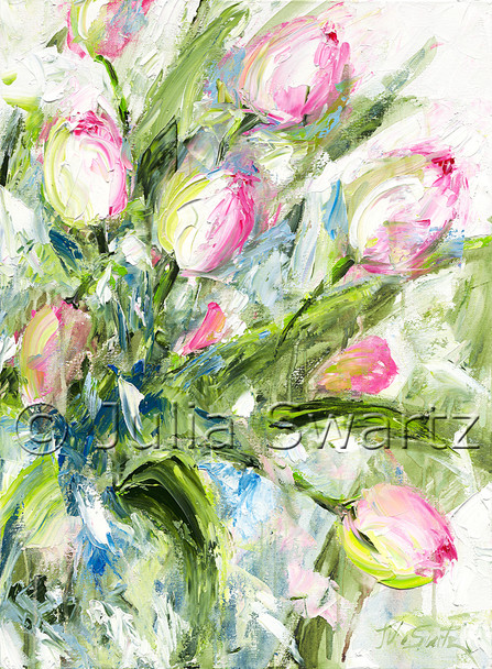 An original impressionistic oil painting on canvas of pink tulips by Julia Swartz.
