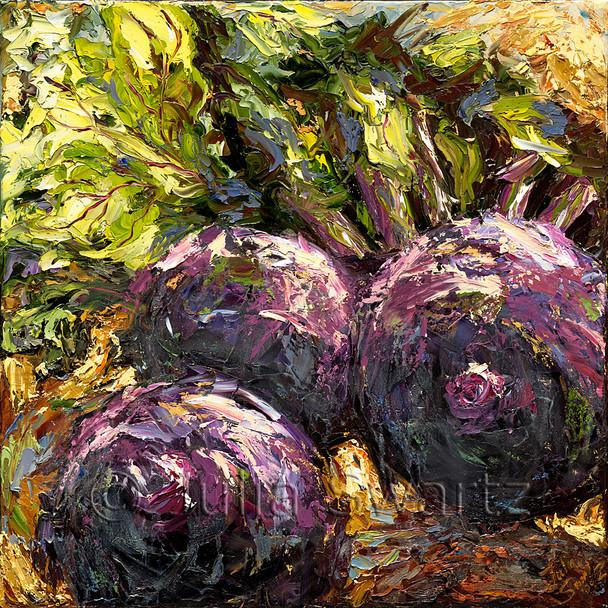 This painting of beets, which were purchased at the Farmer's Market adjacent to Julia's studio and gallery, conveys a contemporary flair as a result of the use of intense color and thick, swirling textures.