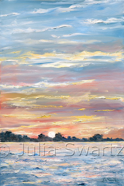 An impressionistic oil paint on canvas of a sunset on Chesapeake bay from the Sassafras river by Julia Swartz.