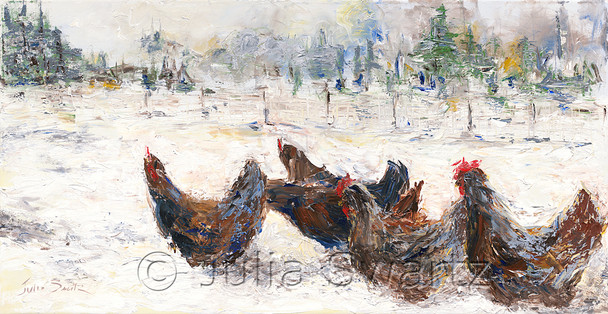 An original oil painting of Chickens in deep snow by Julia Swartz.