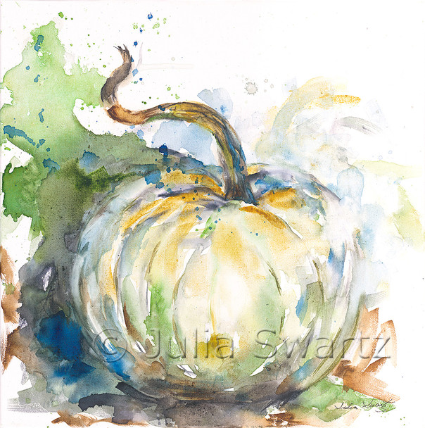 An impressionistic watercolor painting of a white pumpkin painted on canvas by Julia Swartz