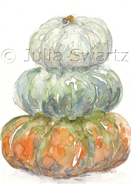 An original watercolor painting of three pumpkins stacked on top of each other by Julia Swartz