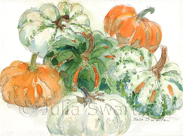 Watercolor and Ink painting of Six pumpkins, orange, green & white, painted on canvas by Julia Swartz
