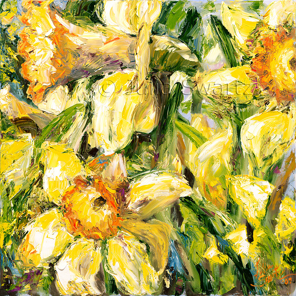 The bright, cheery yellows and yellow-oranges of daffodils are  painted with an impressionistic feeling in the closeup view of this much loved flower.