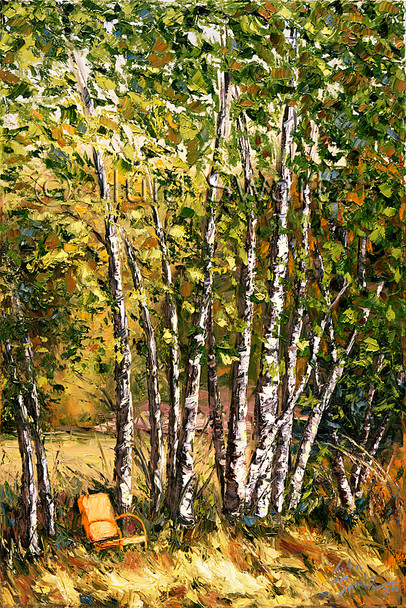 The old orange chair next to a row of birch trees with fall colored leaves oil painting by Julia Swartz.