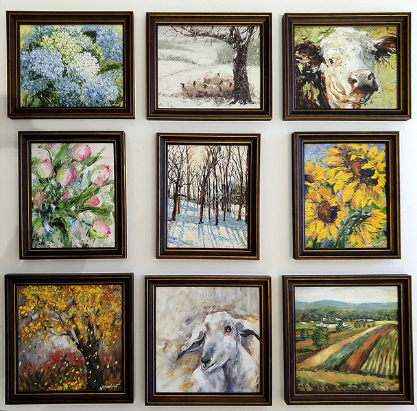 Nine small canvas prints framed and ready to hang