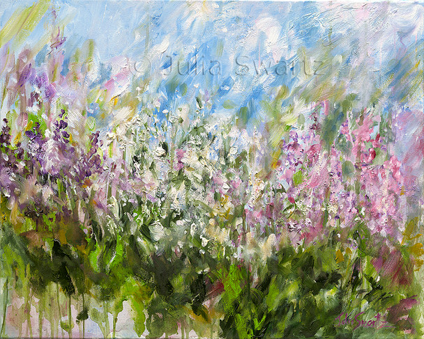An impressionistic oil painting on canvas of a cluster of flowers by Julia Swartz.